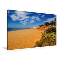 Premium Textil-Leinwand 120 x 80 cm Quer-Format Strand bei Quarteira in Algarve, Portugal   Wandbild, HD-Bild auf Keilrahmen, Fertigbild auf hochwertigem Vlies, Leinwanddruck von Val Thoermer