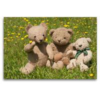 Premium Textil-Leinwand 120 x 80 cm Quer-Format Teddy Freundschaft   Wandbild, HD-Bild auf Keilrahmen, Fertigbild auf hochwertigem Vlies, Leinwanddruck von Meike Bölts