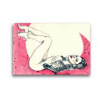 Premium Textil-Leinwand 45 x 30 cm Quer-Format pink moon, Frau im Mond, liegend | Wandbild, HD-Bild auf Keilrahmen, Fertigbild auf hochwertigem Vlies, Leinwanddruck von Sara Horwath