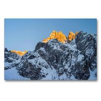 Premium Textil-Leinwand 90 x 60 cm Quer-Format Winter im Innerfeldtal der Sextener Dolomiten mit dem rot-glühenden Gipfel der Dreischusterspitze (3145 m) | Wandbild, HD-Bild auf Keilrahmen, Fertigbild auf hochwertigem Vlies, Leinwanddruck von Martin