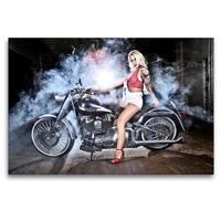 Premium Textil-Leinwand 120 x 80 cm Quer-Format Jennifer in Fire Red mit einer FLSTF Fat Boy Bj 03 | Wandbild, HD-Bild auf Keilrahmen, Fertigbild auf hochwertigem Vlies, Leinwanddruck von Udo Talmon