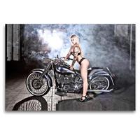 Premium Textil-Leinwand 120 x 80 cm Quer-Format Jennifer in Black mit einer FLSTF Fat Boy Bj.03 | Wandbild, HD-Bild auf Keilrahmen, Fertigbild auf hochwertigem Vlies, Leinwanddruck von Udo Talmon