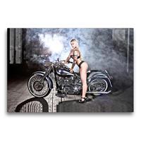 Premium Textil-Leinwand 75 x 50 cm Quer-Format Jennifer in Black mit einer FLSTF Fat Boy Bj.03 | Wandbild, HD-Bild auf Keilrahmen, Fertigbild auf hochwertigem Vlies, Leinwanddruck von Udo Talmon
