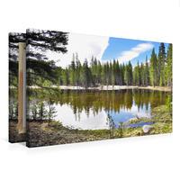 Premium Textil-Leinwand 75 x 50 cm Quer-Format Spiegelung im See   Wandbild, HD-Bild auf Keilrahmen, Fertigbild auf hochwertigem Vlies, Leinwanddruck von Nadine Büscher