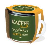 Emaille-Becher 'Kaffee läuft'