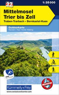 Mittelmosel - Trier bis Zell Nr. 22 Outdoorkarte Deutschland 1:35 000