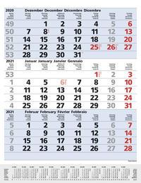 3-Monats-Planer Comfort Blau 2021