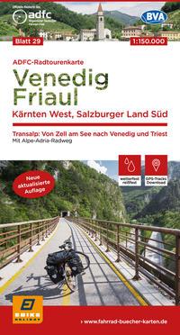 ADFC-Radtourenkarte 29 Venedig, Friaul - Kärnten West, Salzburger Land Süd, 150.000, reiß- und wetterfest, GPS-Tracks Download