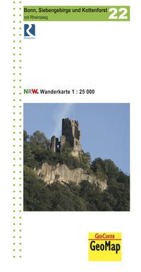 Bonn, Siebengebirge und Kottenforst Blatt 22 topographische Wanderkarte 1:25.000