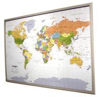 Politische Weltkarte auf Kork-Pinnwand, deutsch