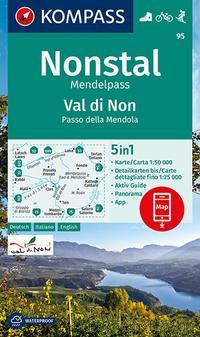 KOMPASS Wanderkarte Nonstal, Mendelpass, Val di Non, Passo della Mendola